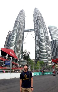 At the Petronas Towers. They were the tallest buildings in the world from 1998 to 2004 and remain the tallest twin towers in the world today.