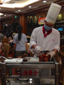 Our duck being cut and served in front of us.