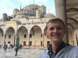 Me outside the Sultan Ahmed Mosque.  It was built from 1609 to 1616, during the rule of Ahmed I. Today it is still a functional mosque.