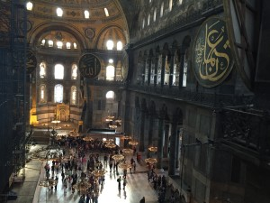 A view from the inside of Hagia Sophia that gives you a sense of its scale. in fact for almost 1,000 years it was the largest cathedral in the world.