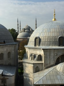 A view of the Blue Mosque from the windows of Hagia Sophia.