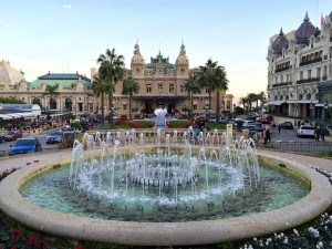 The plaza outside the Monte Carlo Casino.  In front you can see the Casino and to the right the Hotel de Paris Monte-Carlo (