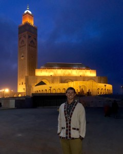 Outside the mosque at night. It is exceptionally well lit.