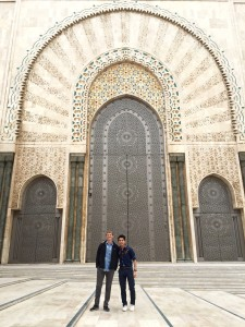 In front of one of the main doors with a friend I made on the train from Marrakech.