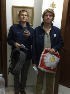 The two of us before we left.  All of my things were in my backpack and Anders simply used a grocery bag.
