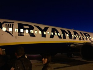 Our EARLY morning RyanAir flight.  It was little wonder why it was so cheap.  What is a wonder, is why they let a passenger take photos with the pilot in the cockpit before our flight???