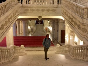 Inside the Palace of Parliament.  the satircase Anders is on was specially made with short, wide steps so that former communist leader Nicolae Ceaușescu could look up instead of looking at his feet.