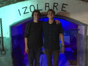 The two of us after we attempted a communist prison themed escape game.  If you are not familiar (just as I was not), in an escape game you are locked in a room and players must find the clues and solve puzzles in order to escape.