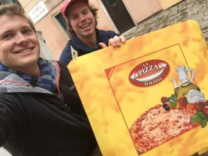 Anders and I after completing what can only be called the largest pizza on earth. Also only 10 euros :)