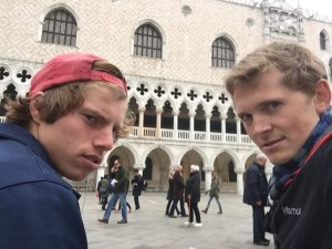 """This photo is called, """"you are not invited to this party.""""  Anders and I outside of the Doges Palace."""