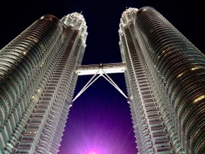 Look how cool the Petronas Towers are!  They are in Kuala Lumpur, Malaysia.