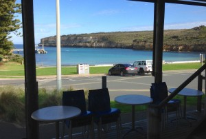 The view from our quiet little cafe in Pt. Campbell.  We were the only people, so good service and can you beat that view?