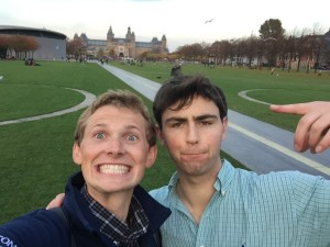Dan and I at Museumplein with the Rijksmuseum and the Van Gough Museum in the background.