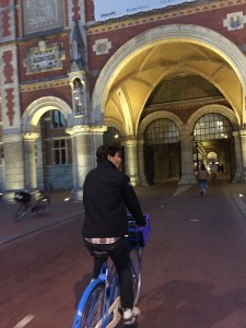 My friend Dan biking along.  We rode bikes to get everywhere.  Bikes in Amsterdam are king.