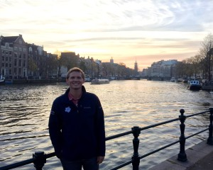 Me with a beautiful sunset along a canal.