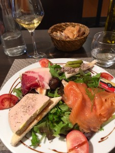 Jambon, Salmon, Pate, and Foie Gras.  A very yummy lunch indeed.