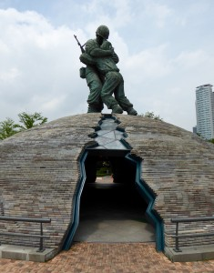 A statue outside the war museum in Seoul.