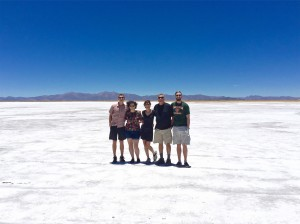 The family all together on the salt flats.