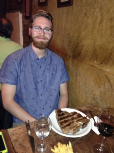 Alex tackles a massive steak, classic Argentina.