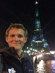 Me at club Eiffel.  But yes the Eiffel Tower was lit up for the COP 21 Climate Conference that happened during my stay.