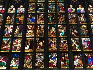 Stained glass inside the Duomo di Milano.
