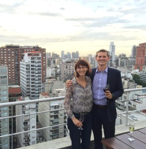 Mom and I on top of our Airbnb roof.